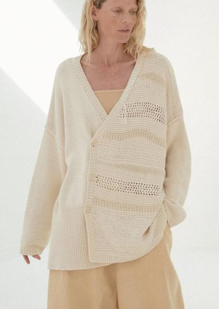 Mónica Cordera Patched Cardigan - Natural