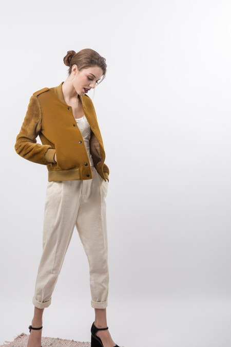Nanushka Fur Sleeve Varisty Jacket