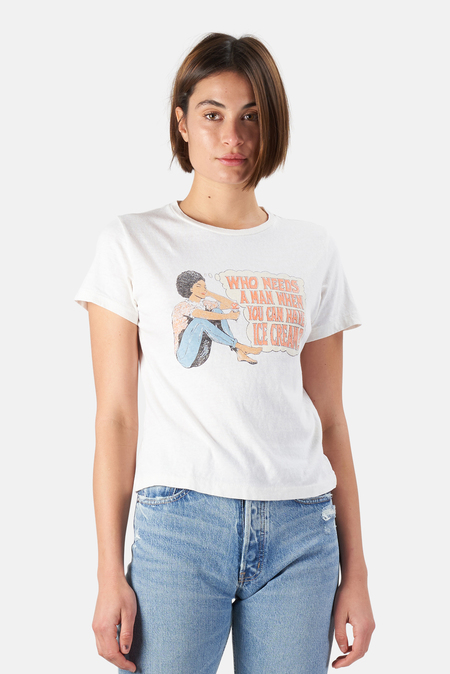 Re/Done Classic T-Shirt Who Needs A Man - Vintage White