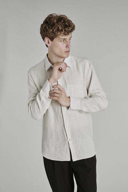 Delikatessen Feel Good Tonal Stripe Linen Shirt - Light Grey