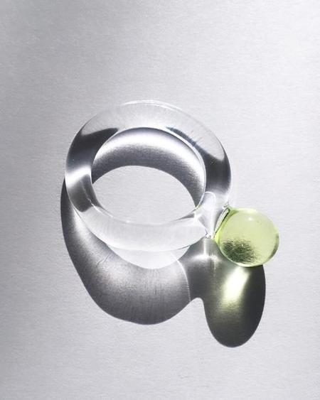 JANE D'ARENSBOURG Glass Dot Ring - Lime