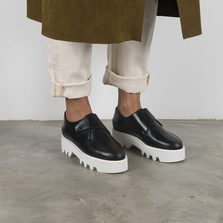 Unreal Fields WRAP UP Leather Platform Creepers - Black
