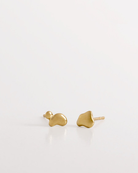 Knobbly Little Gold Puddle Earrings - 14k Gold