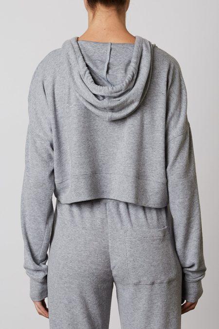 NIA Cropped Zip Up Hoodie - Gray