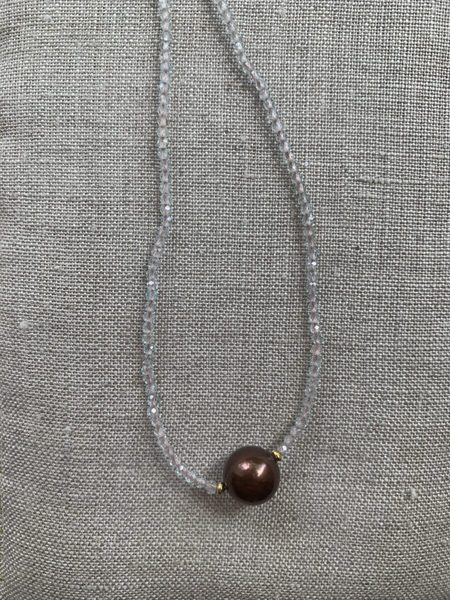 Hamoa Handmade Tahitian Pearl Lei Necklace -  blue topaz/copper/chocolate pearl