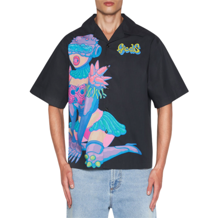 GCDS Rick & Morty Bowling Shirt - Black