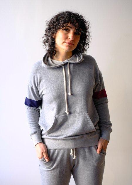 Sundry Stripe Sleeve Hoodie - Heather Grey
