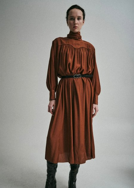 Sayaka Davis Scarf Collar Dress - Terracotta