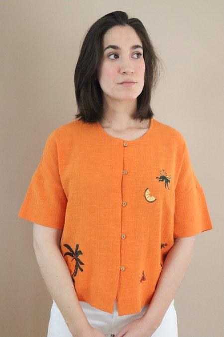 Nice Things Paloma Monkey Town Top - Orange