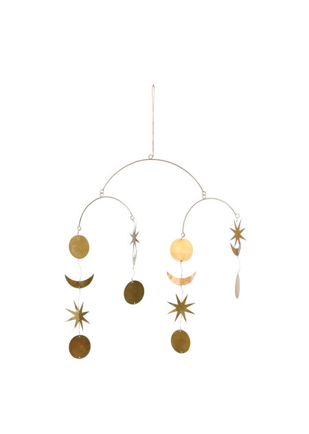 Leelanau Star and Moon Mobile hanging - Brass