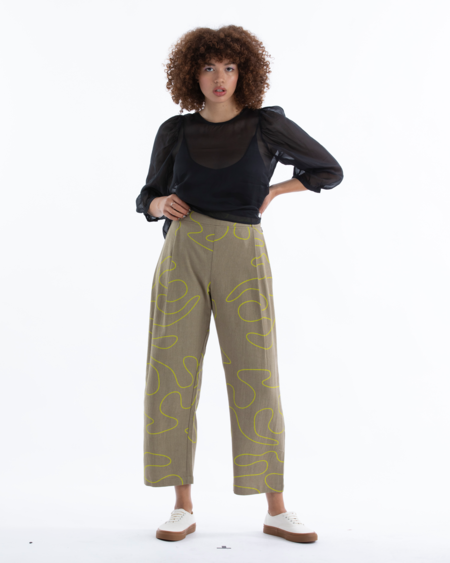 Ali Golden Pleated Pant - Khaki Squiggle
