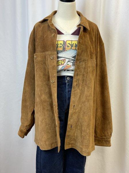 Vintage Suede Leather Shirt Jacket - olive