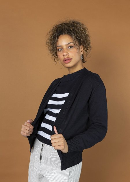 MJ. Watson Open Front Cotton Cardigan - navy