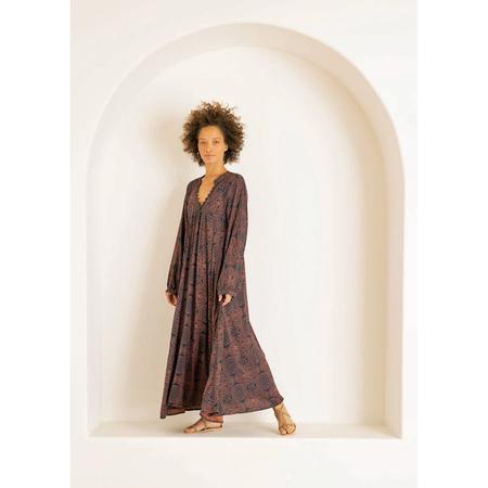 Natalie Martin Fiore Maxi Dress - Moroccan Tile Indigo/Clay