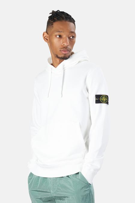 Stone Island Garment Dyed Fleece Hoodie Sweater - White