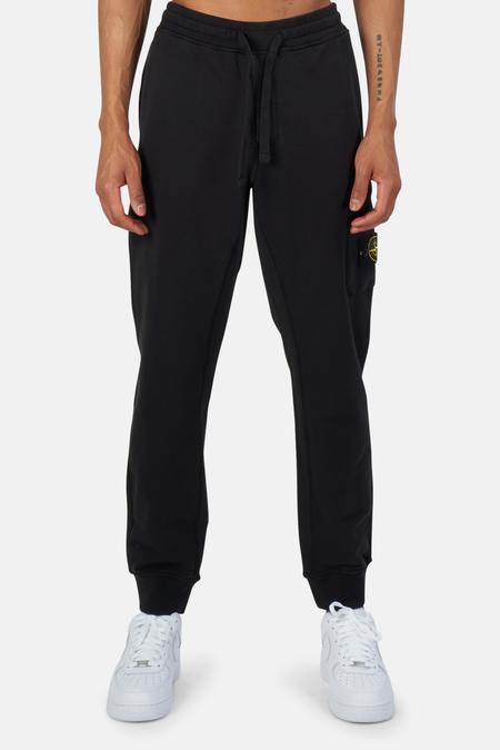 Stone Island Garment Dyed Cotton Fleece Pants - Black