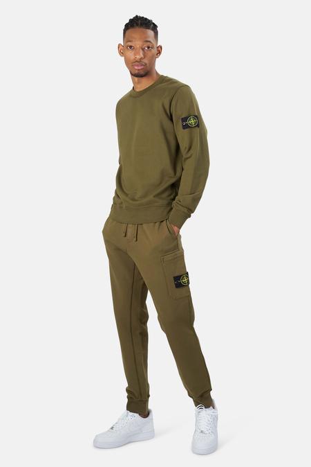 Stone Island Garment Dyed Cotton Fleece Pants - Olive