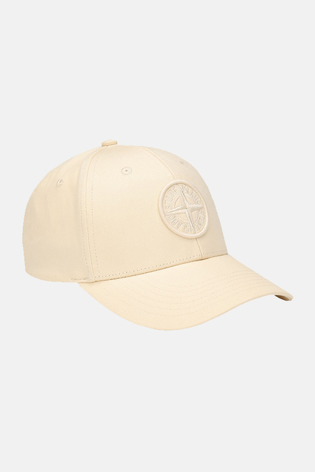 Stone Island Cotton Compass Logo Cap - Ivory