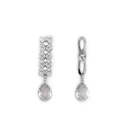 Joomi Lim Crystal and Chain w/ Crystal Drops Earrings - Rhodium