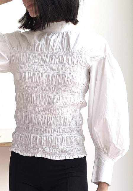 Ganni Smocked Poplin Shirt- Bright White