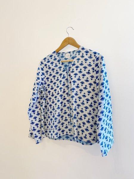 Bunai Tie Top - Reverse indigo-print