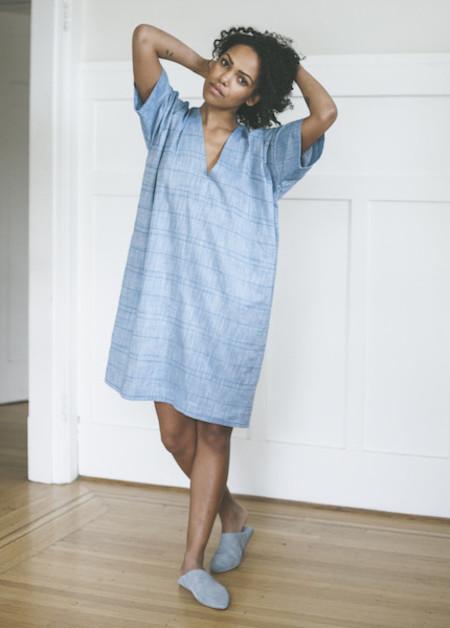 The Sleep Shirt Kaftan in Blue Chain Stitch