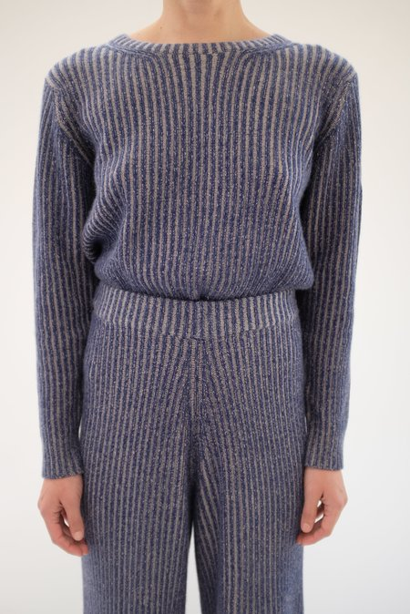 Beklina Cashmere Ribbed Crew Sweater - Navy