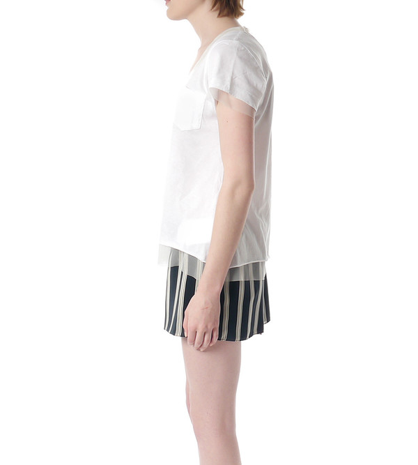Sacai Luck White T-Shirt with Mesh Underlay
