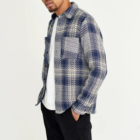 Wax London Whiting Overshirt - Navy/Lemon Check