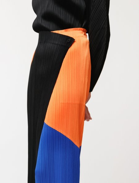 Pleats Please by Issey Miyake Collage Skirt - Black/Blue/Orange