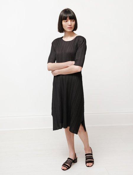 Pleats Please by Issey Miyake Mellow Pleats Short Sleeve Dress - Black