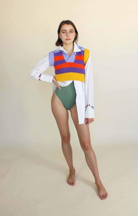 Tyler McGillivary Erika Maish Cropped Sweater Vest - Wavy Orange/Lilac Stripes