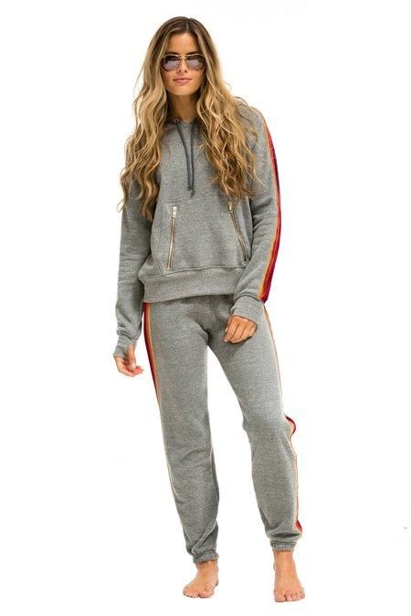 Aviator Nation Classic Velvet Stripes Sweatpants - Heather Gray