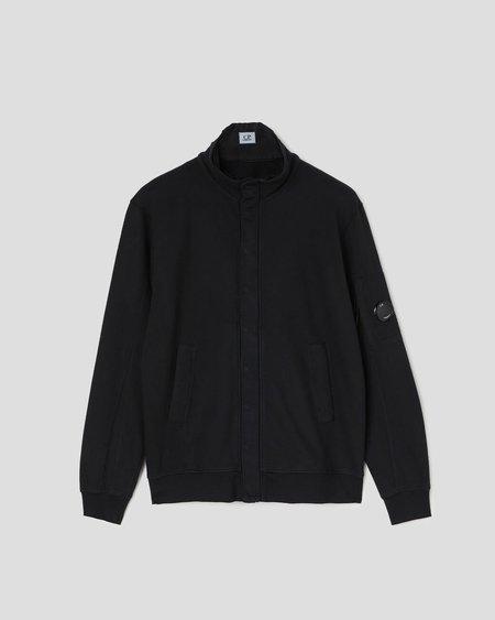 C.P. Company Light Fleece Garment Dyed Stand Collar Sweatshirt - Black