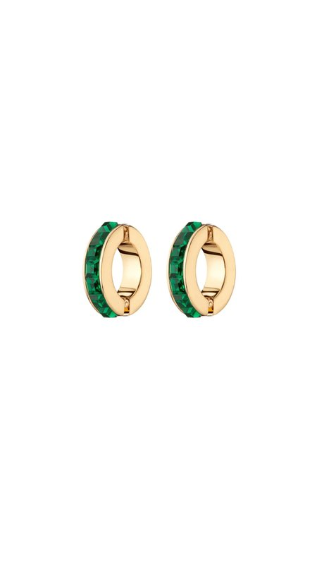 Demarson Eden Cuff Earrings - EMERALD/CRYSTAL SILVER