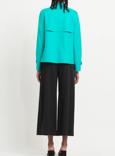 Harris Wharf London Cropped Light Wool Trench - Tropical Blue