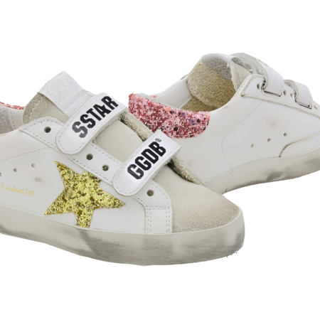 kids Golden Goose Old School Leather Glitter GJF00111-F001010-80780 sneakers - white/Pink/Gold