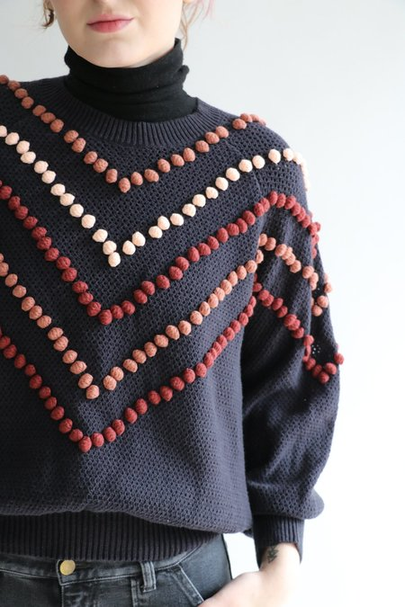 [Pre-loved] The Great. Pom Pom Bobble Sweater - Navy