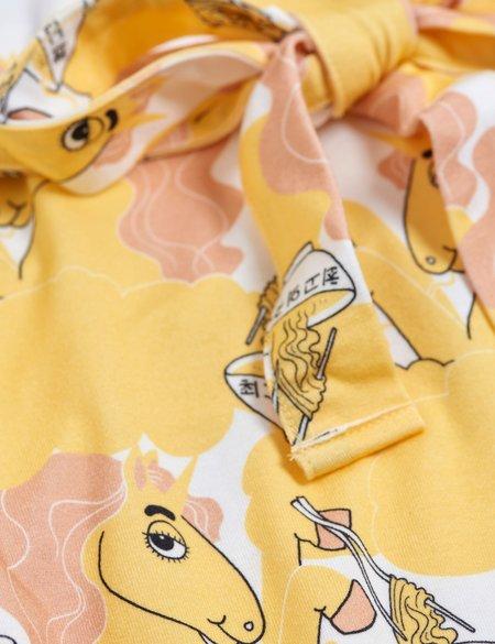 kids Mini Rodini Unicorn Noodles Tank Dress - Yellow