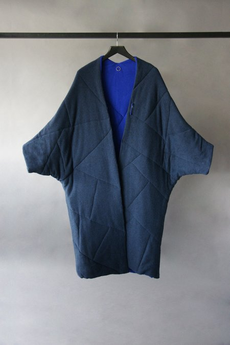 Oyuna Quilted Oversized Cashmere Coat - Indigo/Ultramarine