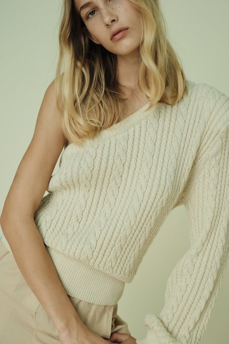 Parentezi One Shoulder Baby Alpaca Knit Top