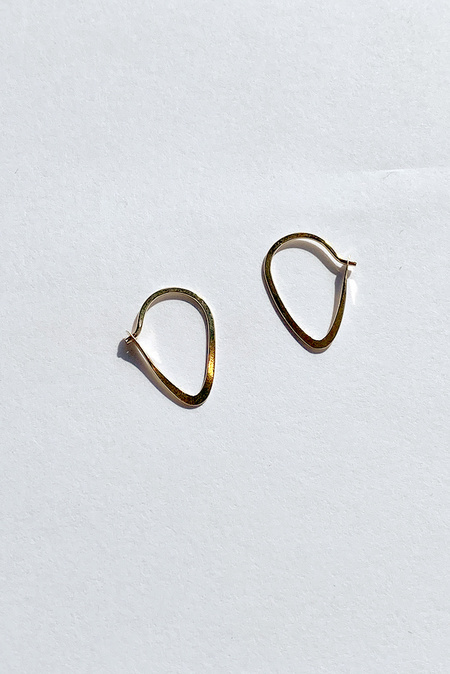 Melissa Joy Manning Extra Small Leaf Hoop Earrings - 14kt Gold