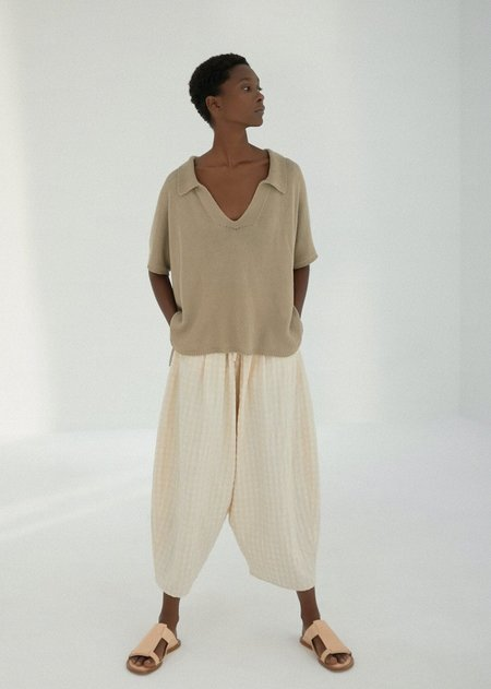 Monica Cordera Knit Linen Polo top - Smoked Green