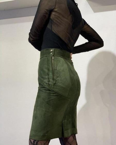 Vintage Azzedine Alaïa Suede Pencil Skirt - Olive