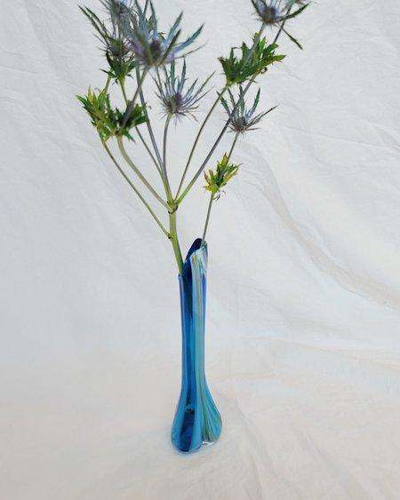 Vintage Blue Freeze Glass Vase
