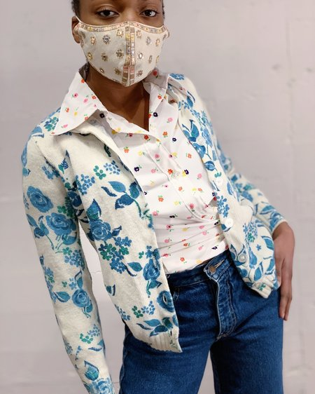 Vintage Cardigan - Blue Rose