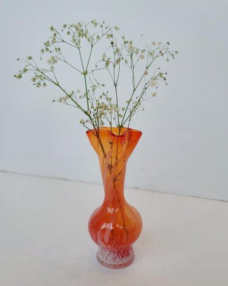 Vintage Orange Candy Crinkle Vase