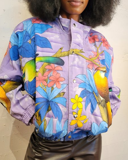 Vintage Painted Birds Bomber