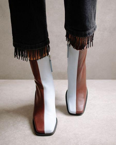 Alohas South Bicolor Boots - Blue/Dark Burgundy