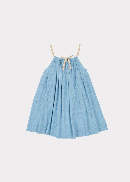 Kids Caramel Cone Fish Dress - Blue Microcheck